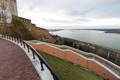 Nizhny Novgorod, Russia - November 11, 2015. View of the Volga river from a v Stock Photos