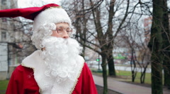 Santa Claus on the street Stock Footage