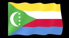 Comoras flag .  Waving PNG. - stock footage