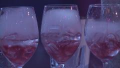 Three drinks in glass with the effect of dry ice Stock Footage