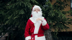 Santa Claus near the tree Stock Footage