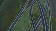 AERIAL view of two intersecting highways. Airplane view of speed motorway, HDR Stock Footage