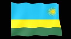 Rwandan flag .  Waving PNG. Stock Footage