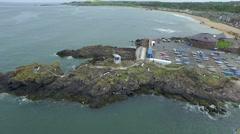 Aerial shot of North Berick, Scotland Stock Footage