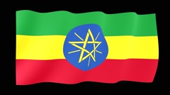 Ethiopian flag.  Waving PNG. - stock footage