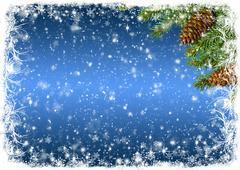 Blue Christmas background with white frost and branches of spruce Stock Photos