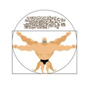 Vitruvian strong man bodybuilder. Illustration of Leonardo da Vinci in cartoo - stock illustration