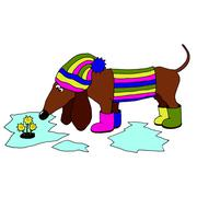 Vector image dachshund wearing rubber boots, which looks at the flowers mothe Stock Illustration