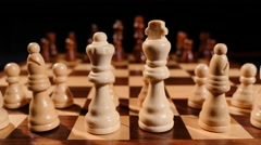 Footage of a chess board and it´s pieces lined up Stock Footage