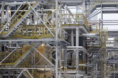 Industrial construction. fuel production petrochemical plant, refining Stock Photos