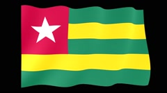 Togolese flag .  Waving PNG. - stock footage