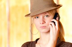 Blonde with cellular telephone Stock Photos