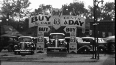 Buy a Car No Money Down Used Car Dealership 1940s Vintage Film Home Movie 8854 - stock footage