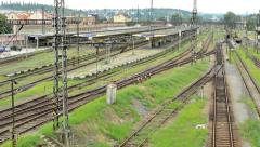 View of the old train station - large city in the distance  Stock Footage