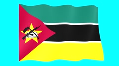 Mozambican flag .  Waving PNG. Stock Footage