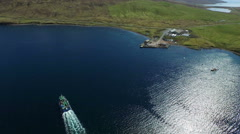 Aerial shot of a boat which is used to fish mussels in Shetland Stock Footage