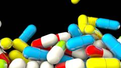 Pills and Drugs Falling on Black Background. Stock Footage
