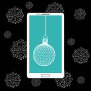 Flat vector illustration of modern Mobile phone with Christmas decoration. The - stock illustration