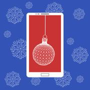 Stock Illustration of Flat vector illustration of modern Mobile phone with Christmas decoration. The