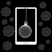 Flat vector illustration of modern Mobile phone with Christmas decoration. The Stock Illustration