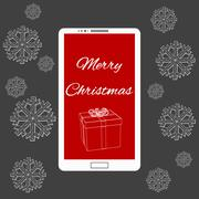 Stock Illustration of Flat vector illustration of modern Mobile phone with Merry Christmas decoration