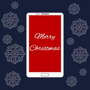 Flat vector illustration of modern Mobile phone with Merry Christmas decoration - stock illustration