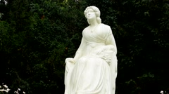 View of the statue of czech famous actress on the based in the evergreen park Stock Footage