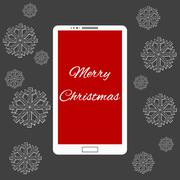 Flat vector illustration of modern Mobile phone with Merry Christmas decoration Stock Illustration