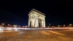 A Timelapse View on Arc de Triomph monument in Paris in France by Night Stock Footage