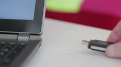 Connect Wi-Fi Adapter to the Laptop - stock footage