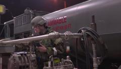 SOUTH KOREA, NOVEMBER 2015, Close Up Soldier Beside Oskosh R-11 Mobile Tanker Stock Footage