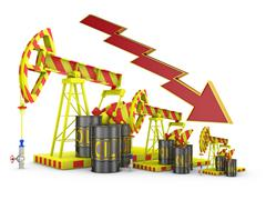 oil pumps and arrow - stock illustration