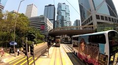 View from the upped deck of the double-deck tram in Hong Kong, China. Stock Footage