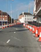 Road Works and Traffic cones - stock photo