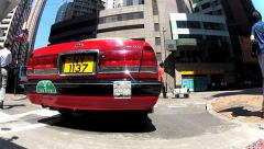 iew to the streets of the city from the car driving in Hong Kong, China. - stock footage
