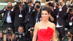 Sandra Bullock Venice red carpet - stock footage
