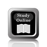 Study online icon. Internet button on white background.. - stock illustration