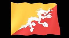 Bhutanese flag .  Waving PNG. - stock footage
