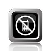 Stock Illustration of Mobile phone restricted icon. Internet button on white background..