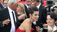Sandra Bullock Venice red carpet Stock Footage