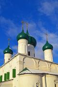Yaroslavl, Domes of Church of the Ascension. - stock photo