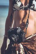 Photographer Woman on Beach Stock Photos