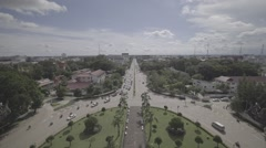 Vientiane Aerial View from Patuxai Monument Stock Footage