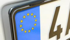 view of the license plate with symbol of eu - detail - stock footage
