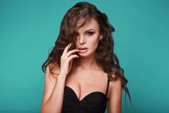 Beauty portrait of young swag sexy woman Stock Photos