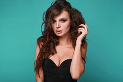 Beauty portrait of young swag sexy woman - stock photo