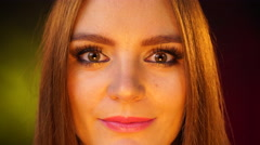 Woman face with beauty eyes makeup 4K - stock footage