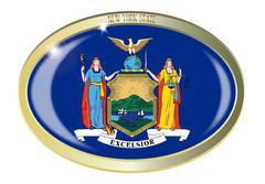 Stock Illustration of New York State Flag Oval Button
