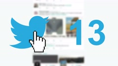 "Twitter social media message button ""tweets"" retweets counter hand cursor Stock Footage"