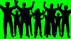 Group of people cheering in silhouette on green screen - stock footage